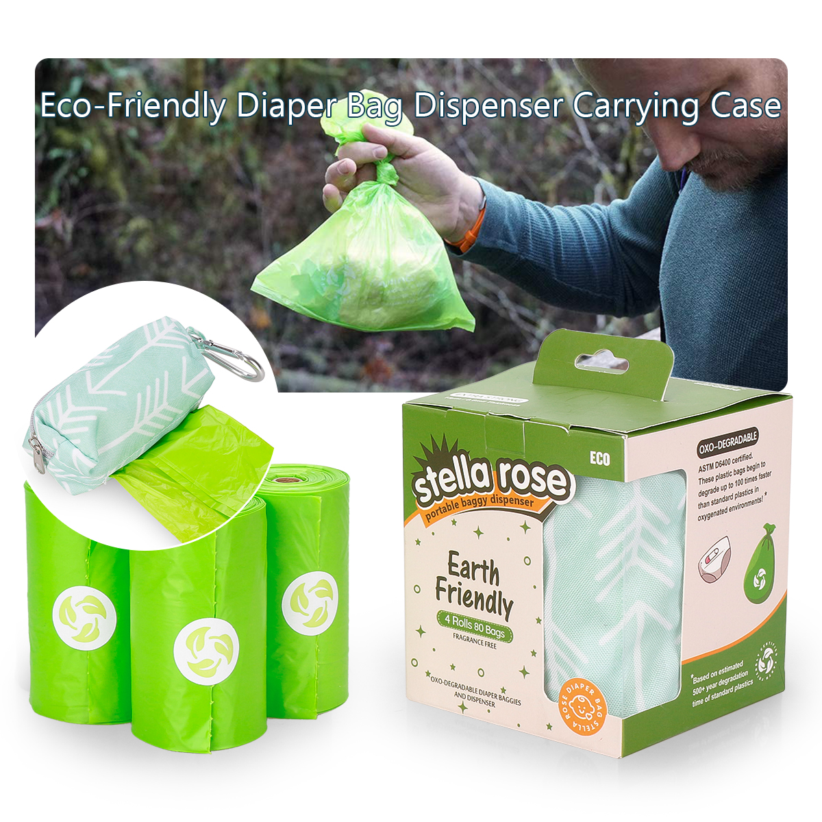 Eco-Friendly Diaper Bag Dispenser Carrying Case and 80 OXO-Degradable Trash Bags