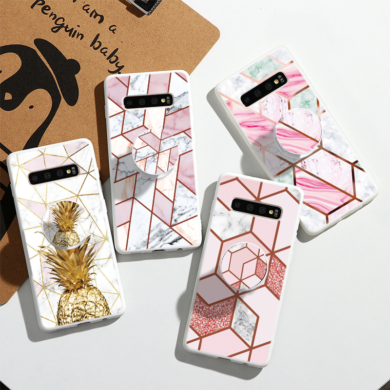 Case For <font><b>Samsung</b></font> Galaxy S20 Ultra Note 10 S10 Lite Pro 8 9 S8 S9 S10e S6 S7 Edge J4 <font><b>J6</b></font> <font><b>Plus</b></font> <font><b>2018</b></font> J5 J7 2017 Marble Holder Fundas image