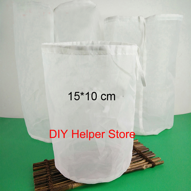 filter bag 2pcs 15*10cm nylon type food grade for home brew beer wine brewing milk tea juice making fish tang filter