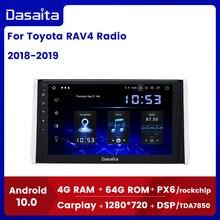 "Dasaita 10.2 ""tela ips carro multimídia android 10.0 para toyota rav4 rádio 2018 2019 tda7850 gps bluetooth carro estéreo max10"