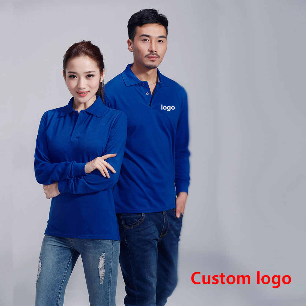 Men's and women solid color long-sleeved Polo shirt overalls embroidery logo advertising shirt factory clothing custom printing