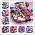 30pcs 10mm Color Fruit/flowers Beads Polymer Clay Beads Polymer Clay Spacer Loose Beads for Necklace DIY Bracelet Accessories