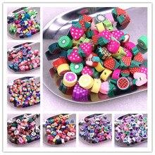 30pcs 10mm Color Fruit/flowers Beads Polymer Clay Beads Polymer Clay Spacer Loose Beads for Necklace DIY Bracelet Accessories
