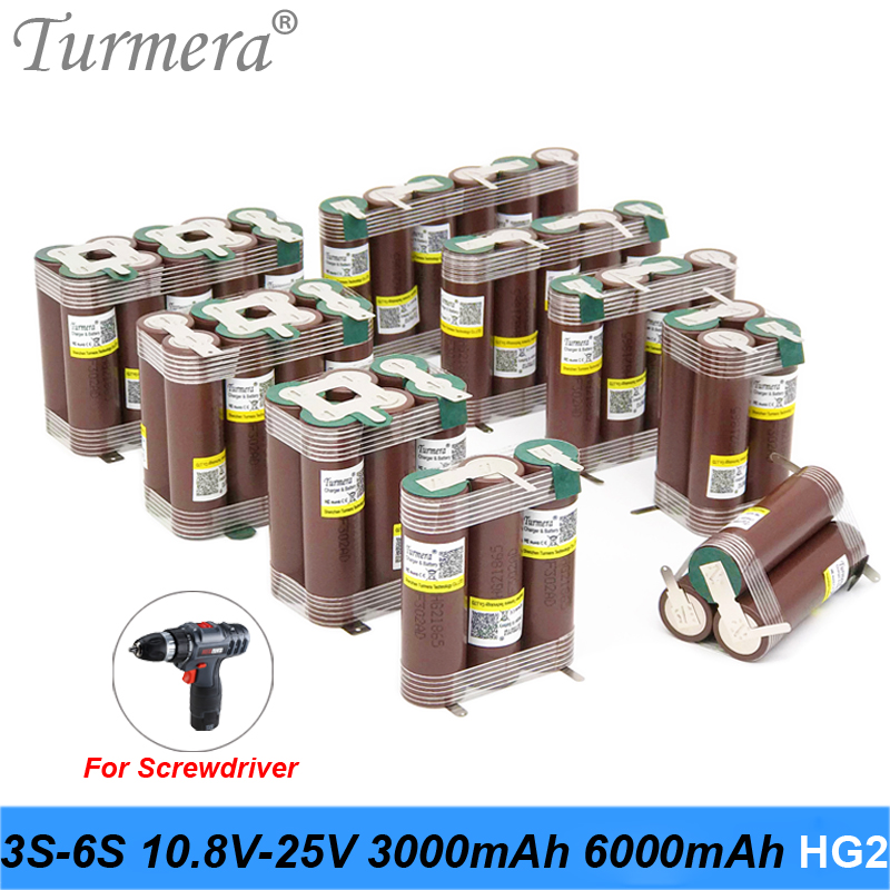 18650 HG2 3000mAh 6000mAh 20 amperios 3S 4S 5S 6S 8S 7,4 V 12,6 V 14,8 V 18V 25,2 V 29,6 V para destornillador baterías batería de soldadura paquete