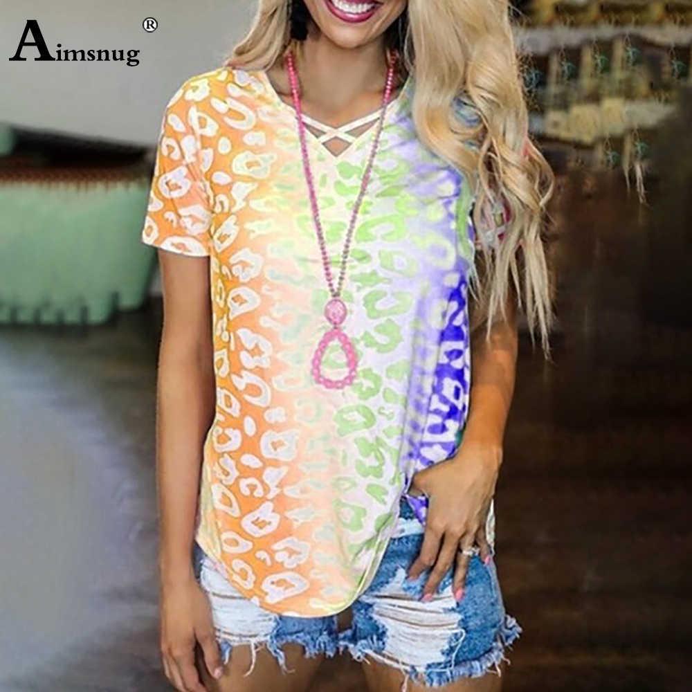 2020 artı boyutu 5xl kadınlar Boho T-shirt eklenmiş gökkuşağı baskı gevşek kadın üstleri yaz yeni v yaka Tee gömlek Casual kazaklar kadın