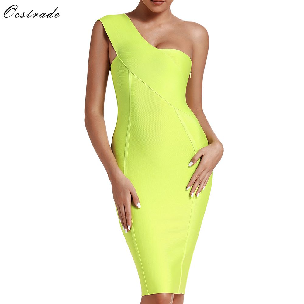 Ocstrade Celebrity Bandage Dress New Arrival 2019 Summer Women Neon Green Bandage Dress Bodycon One Shoulder Evening Party Dress-in Dresses from Women's Clothing