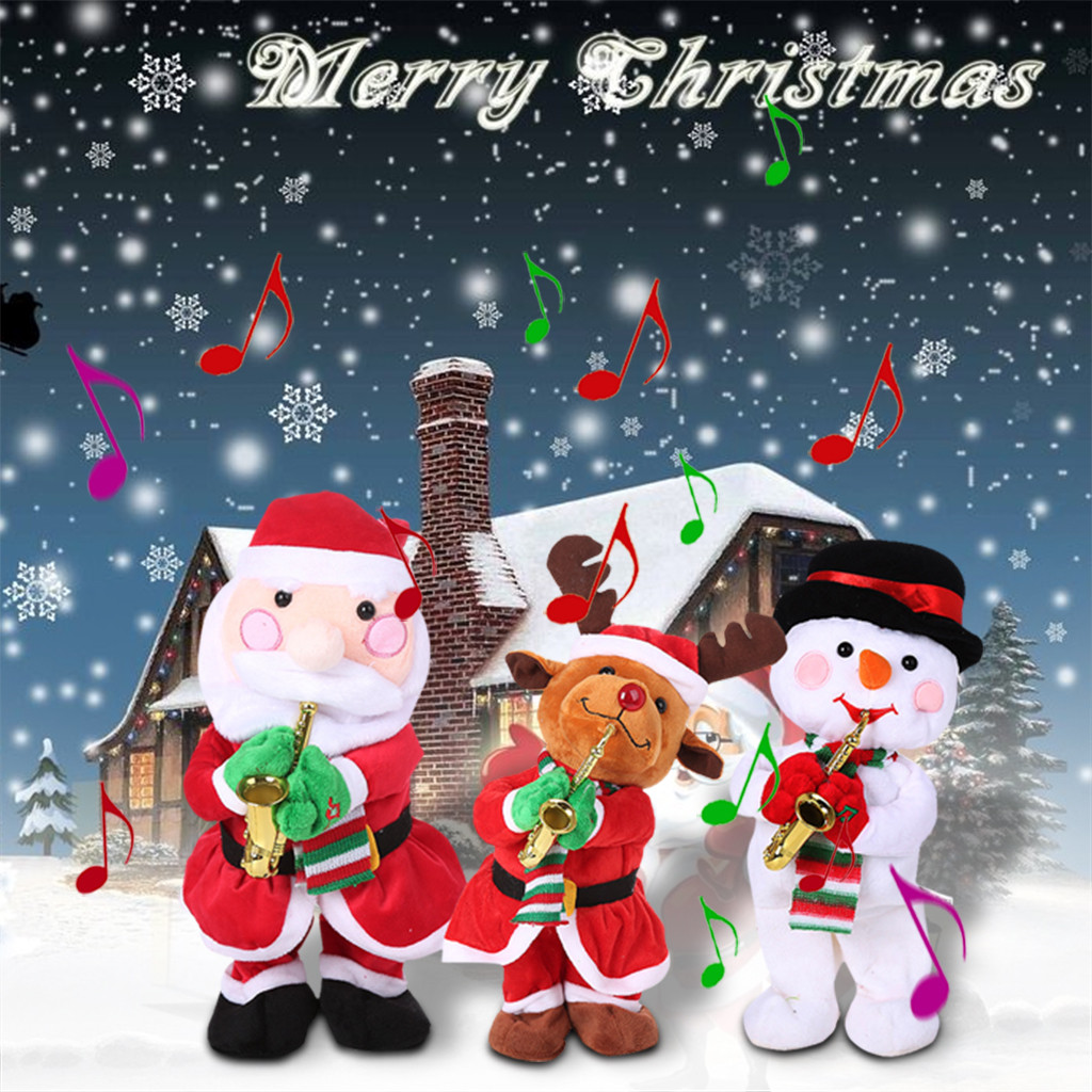 Dancing Christmas Doll Electric Music Christmas Snowman Elk Tree Santa Claus Play Sax Plush Doll Kids Christmas Gift Decoration