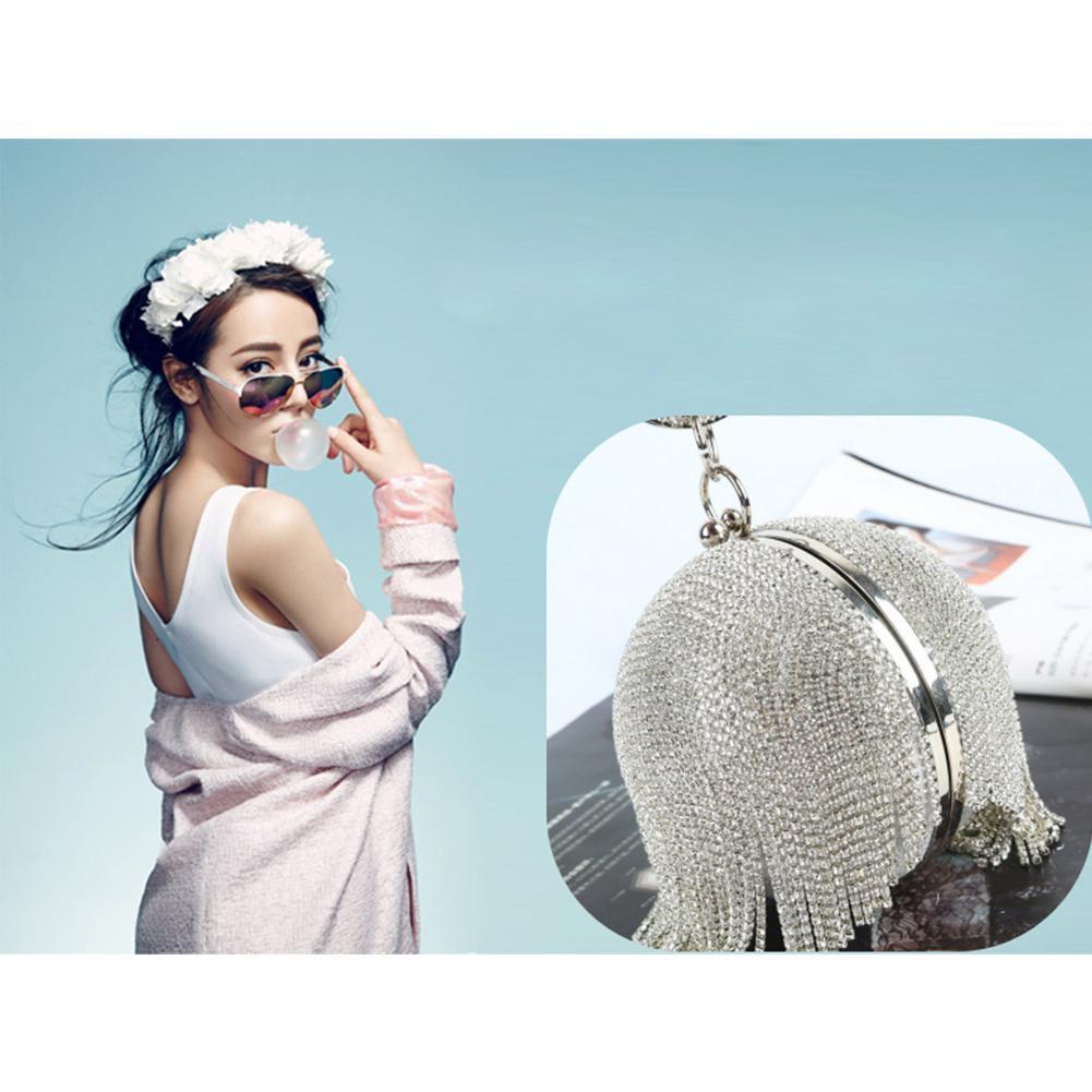 Handmade Evening-Bag Fringe Banquet-Clutch High-End Women Luxury For Rhinestone Spherical