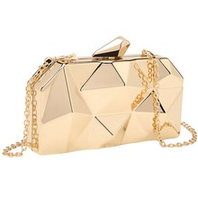 Geometry Clutch Evening Bag Elegent Chain Women Handbag For Party Shoulder Bag For Wedding/Dating/Party(Gold)(China)