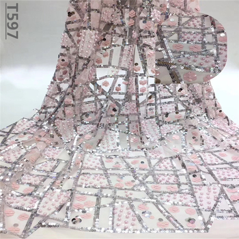 High end wedding /party dress lace fabric pink Sequins&Beads french lace fabric applique african textile lace fabric