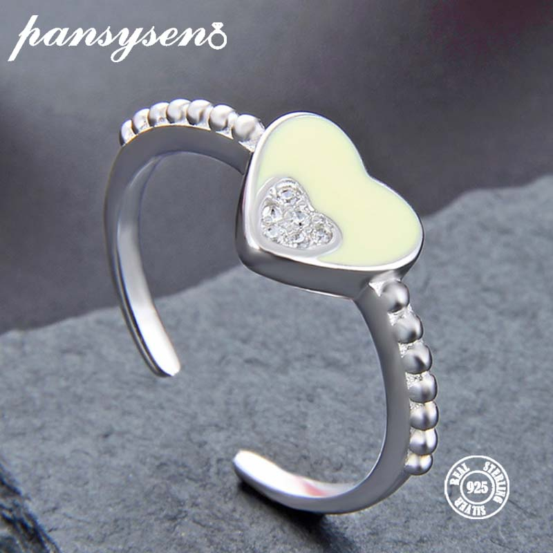Sterling Silver Ring Wedding-Jewelry Engagement Women S925 AAA Heart Zircon for 100%Real