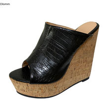 Mules Slippers Shoes Women Wedges High-Heels Black Plus-Size Olomm Platform Dress Stone-Pattern