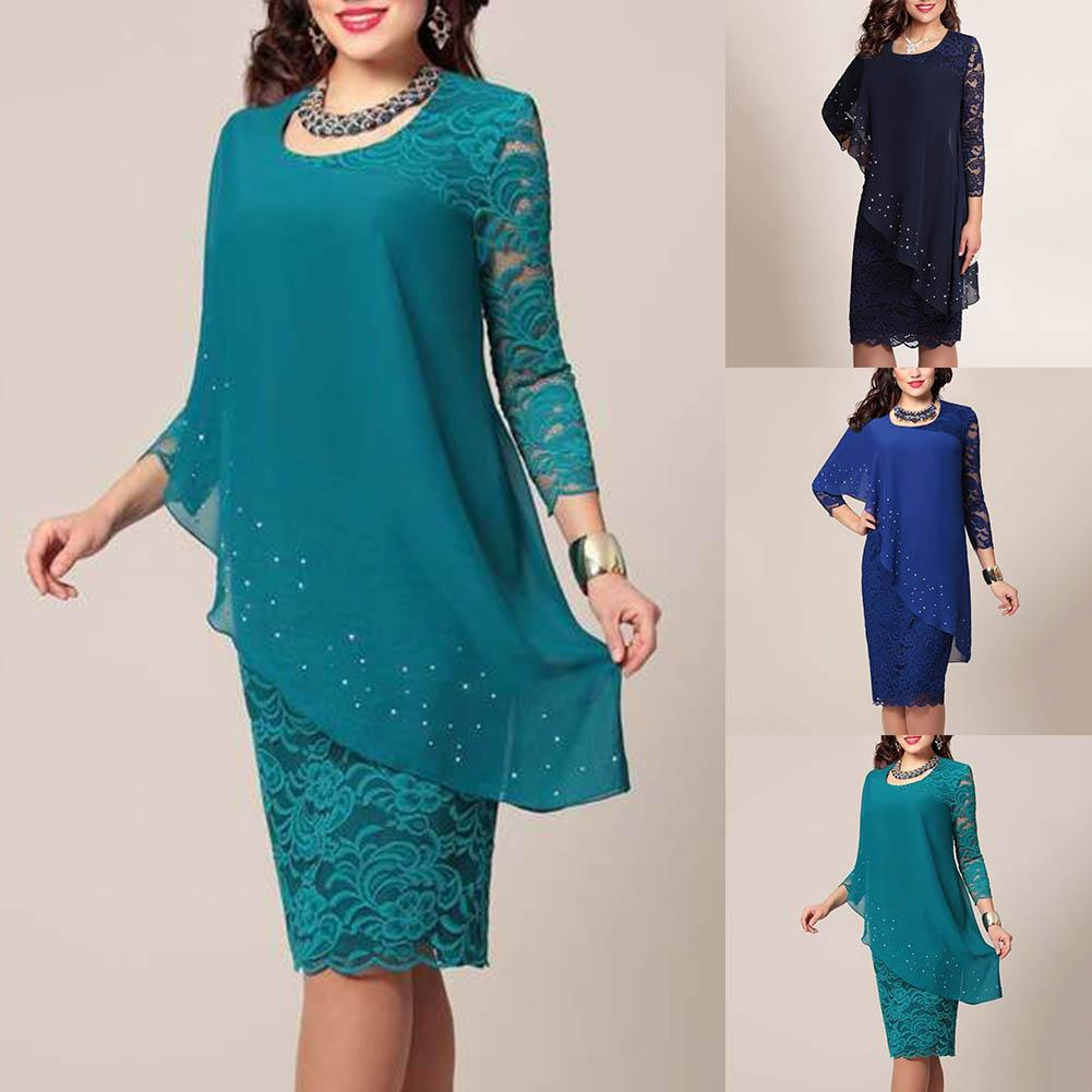 Plus Size Solid Color Women Double Layer 3/4 Sleeve Round Neck Bodyon Midi Dress Christmas Gifts 2020 New Style