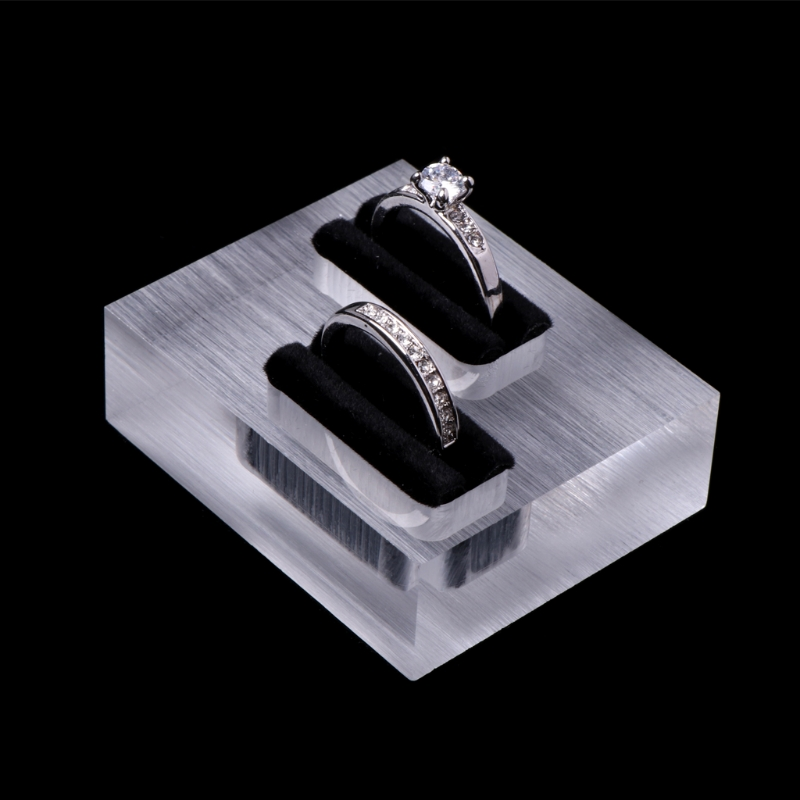1 Pc Mini Clear Acrylic Double Rings Display Stand Jewelry Store Showcase Holder Organizer Small Rings Storage Case