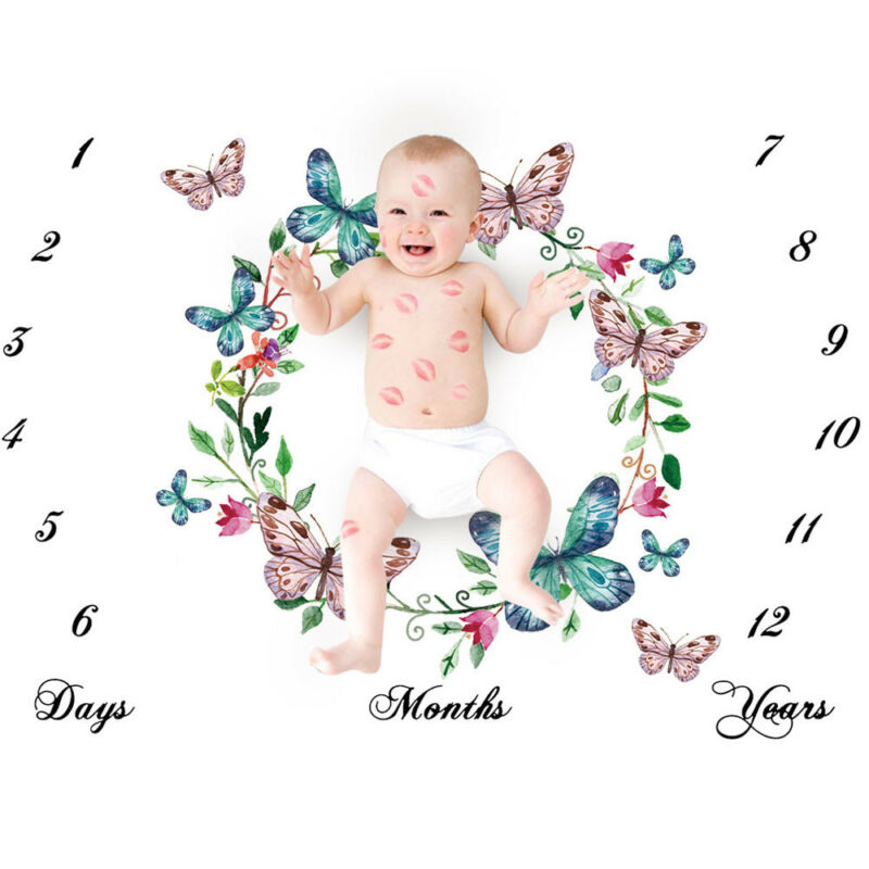 Unisex Milestone Blanket Days,Months,Years, Photo Shoot Props Baby Toddler Age Blanket & Swaddling