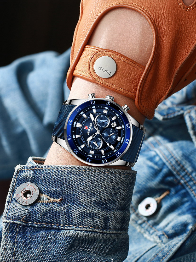 REWARD Blue Watch Chronograph Quartz Business Waterproof Men Luxury Relogio Brand Masculino