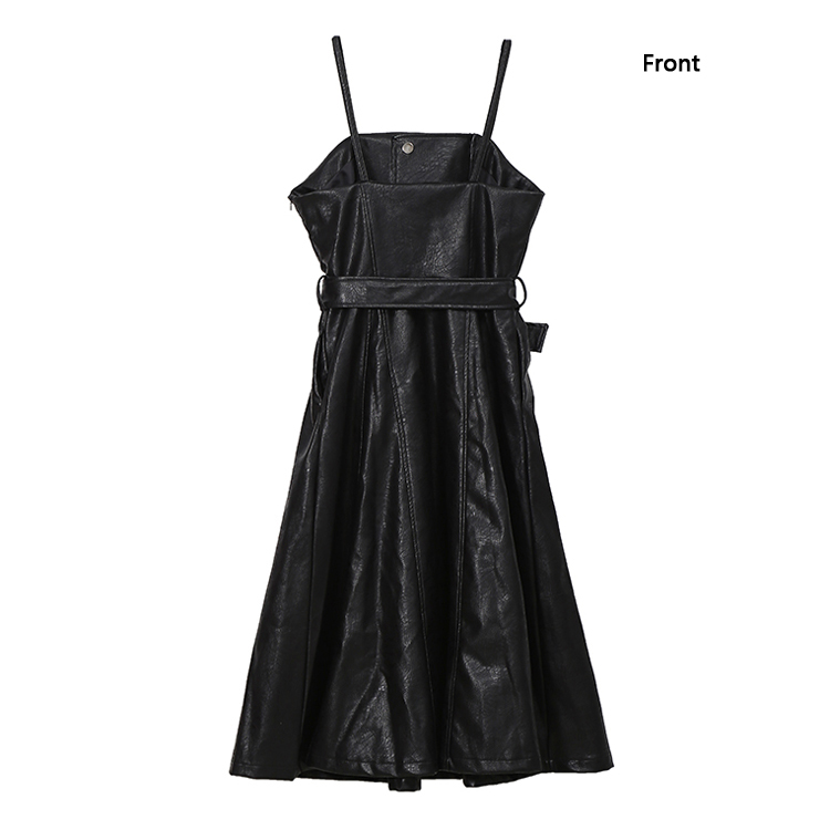 New Fashion Style Faux Leather Black Midi Sexy PU Dress Fashion Nova Clothing