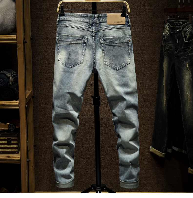 KSTUN Ripped Skinny Jeans Men Light Blue Stretch Embroidered Pockets Distressed Mens Jeans with Holes Slim Fit Casual Denim Pants Boys 12