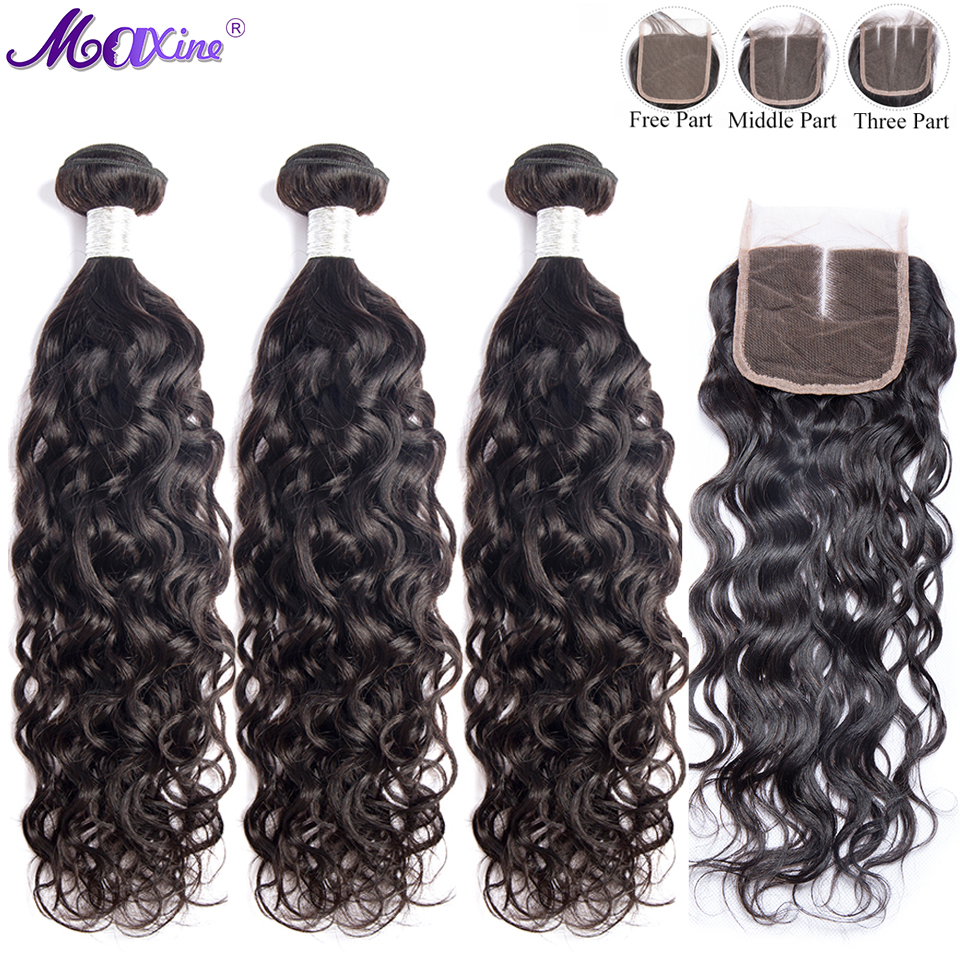 Bundles With Closure Water Wave Human Hair With Closure Maxine Remy Hair Brazilian Weave Bundles 4x4 Lace Closure With Bundles