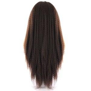 Image 4 - ライトブラウンスイスレースフロントかつら黒人女性のためのX TRESS 26 インチロング変態ストレートレースフロント人工毛かつら中部