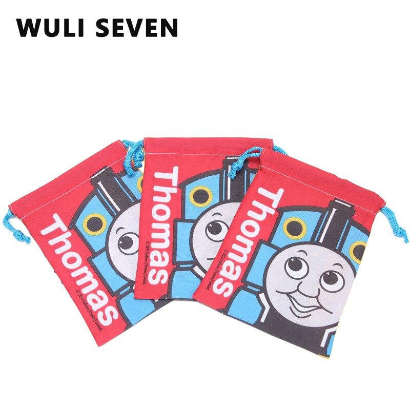 WULI SEVEN Drawstring Bag For Children Travel Storage 3D Printing Cartoon Train School Fashion Storage Bags