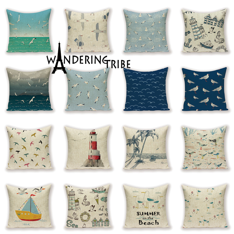 Marine Landscape Decorative Cushion Cover Seagull Home Decor Pillow <font><b>Case</b></font> Summer on The Beach Ocean Scenic <font><b>Seabird</b></font> Sea Cushions image