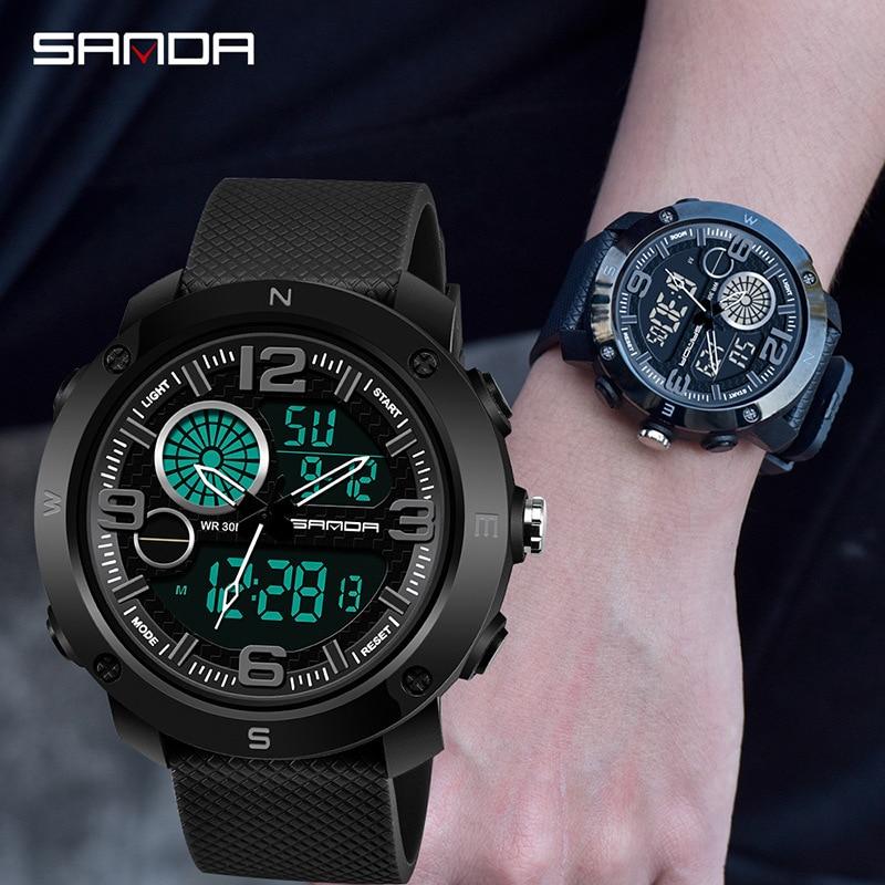 SANDA, спортивные часы, мужские, 2017, светодиодный, цифровые, кварцевые, наручные часы, мужские, лучший бренд, Роскошные, цифровые часы