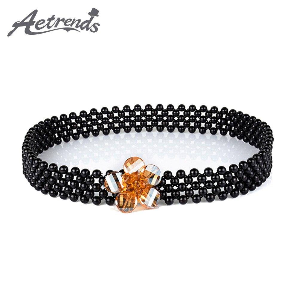 [AETRENDS] Fashion Ladies Stretch Rhinestone Pearl Chain Belt Metal Elastic Waist Belts For Women Luxury D-0143
