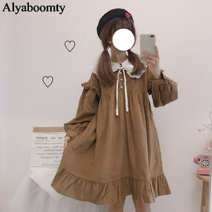 Autumn Spring Women Lolita Princess Dress Sailor Collar Ribbon Khaki Baggy Dress Cute Kawaii Corduroy Ruffles Party Sweet Dress