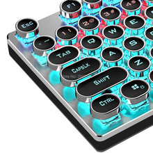 Berputar Makro Backlit Keyboard Mekanik Vintage Biru Hitam Coklat Switch 104 Kunci LED Computer Game Steampunk Keyboard Game(China)