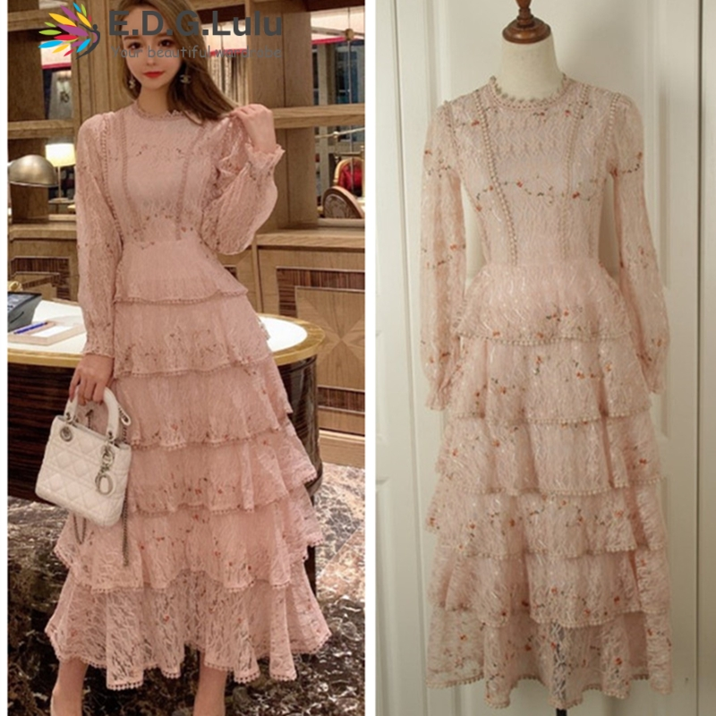EDGLuLu o-neck long sleeve pink lace <font><b>dresses</b></font> 2019 high quality long <font><b>dress</b></font> elegant chic vintage women fall clothing image