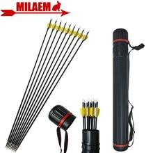 12 Uds. Flecha de carbono de 31 pulgadas con arco de tiro con arco de fibra de carbono con Flecha de carcaj Spine 1000 compuesto/arco recurvo accesorios de caza