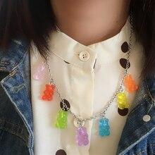 Collar de acero inoxidable hecho a mano de 7 colores bonitos Judy dibujos animados oso caramelo Color caramelo colgante mujeres chica regalo de fiesta, joyería diaria
