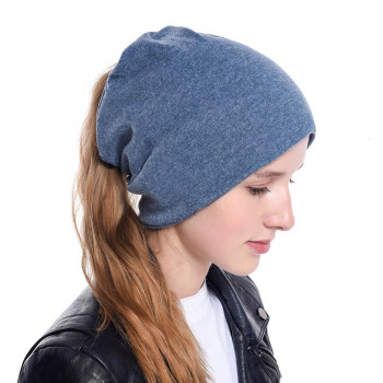 New Messy Bun Ponytail Winter Beanie Hat for Women Slouchy Beanie with Hair Hole for Indoor and Running Sport audio beanie
