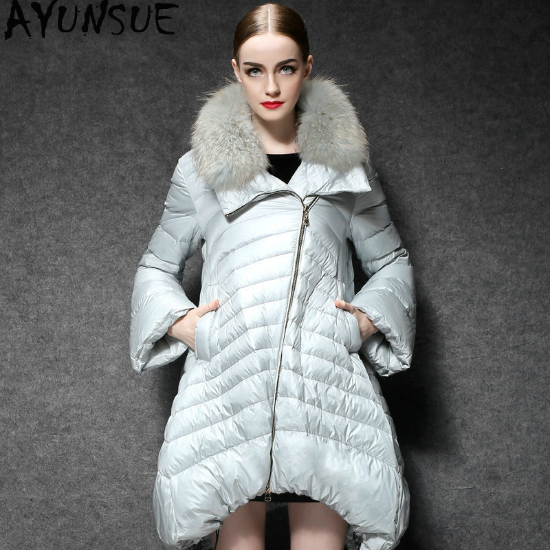 AYUNSUE White Duck Down Jacket Wome Long Coats Female Fashion Puffer Coat Light Womens Down Jackets 2019 YL169111 KJ3739