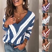 Damska jesienno-zimowa w paski długie rękawy V Neck dzianinowy sweter damski sweter w stylu Casual luźne pulowerowe topy sweter tanie tanio REGULAR Wiskoza POLIESTER V-neck CN (pochodzenie) Na wiosnę jesień Z wycięciami Pełne STANDARD Brak Na co dzień SLIM