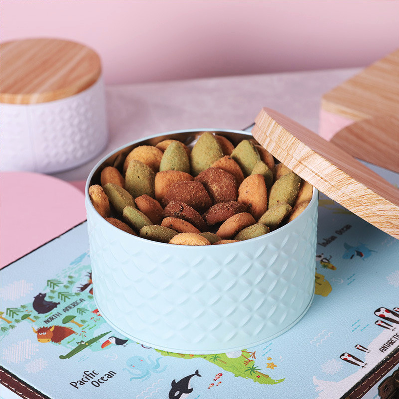 1 шт., круглая пустая железная коробка с деревянной крышкой, коробка для хранения конфет, банка для изготовления свечей «сделай сам»