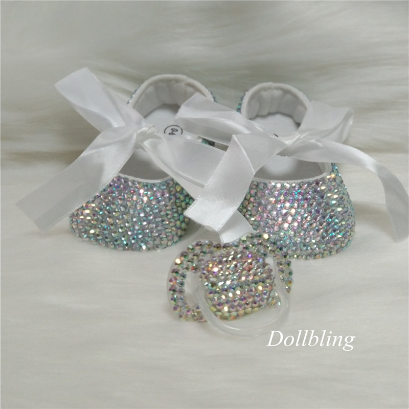 Shiny Rhinestone Baby Shoes Head Walker With Nipple Shiny Crystal Princess Shoes Baby Birthday Gift