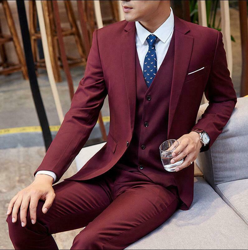 Men's Suit Burgundy Men's Suit Slim Fit Suit 3 Piecec Tuxedo Wedding Business Suit Custom