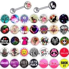 TIANCIFBYJS из нержавеющей стали 14 г металлический пирсинг для тела логотип кольца для сосков спиральные украшения для пирсинга украшение-серьга для тела для женщин мужчин 1 шт. или 1 комплект