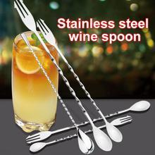 Нержавеющая сталь Резьбовая двойная насадка для смешивания кофе коктейльные палочки винная ложка барная палочка бармен барные инструменты аксессуары