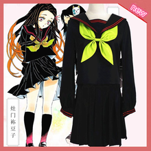 Anime Demon Slayer Kimetsu no Yaiba Cosplay Costume Kamado Nezuko Makomo JK School Uniforms Sailor Suit Women Outfit full set(China)
