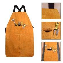 Das Mulheres dos homens de Segurança Roupas Avental Bolso Frontal Engrossar Proteção de Solda Elétrica Ajustável Amarelo luvas de Couro de Trabalho