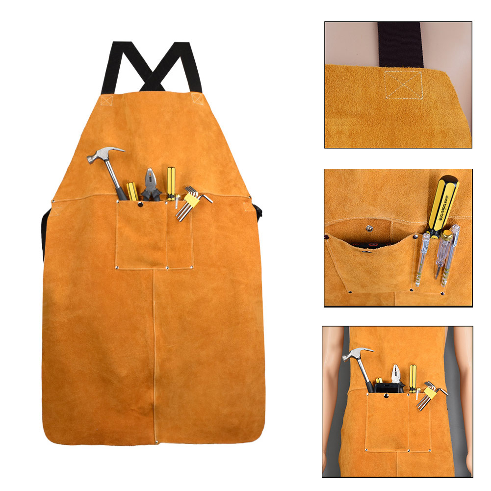 Men Women Safety Clothing Apron Front Pocket Electric Welding Thicken Protective Yellow Adjustable Cowhide Leather Working