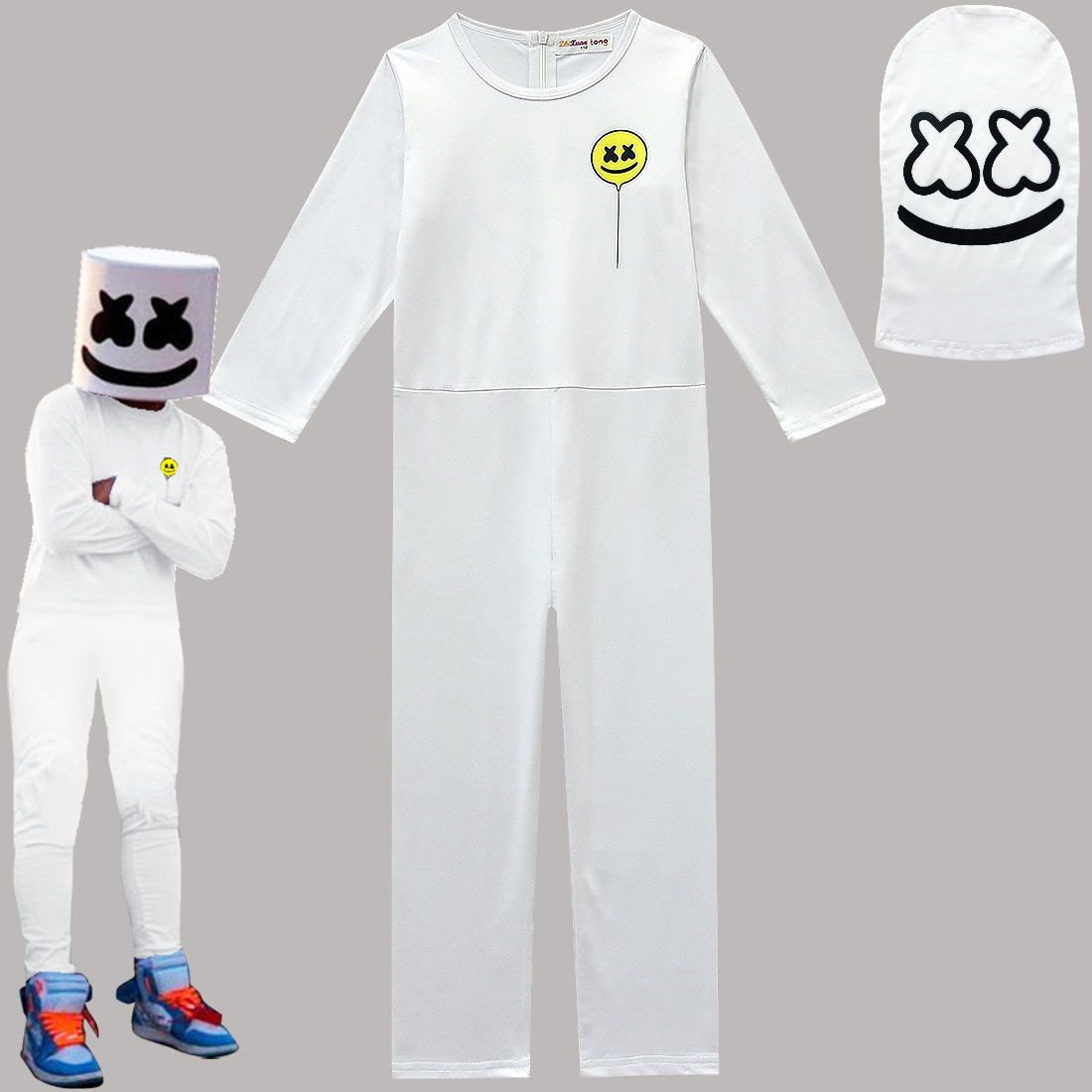 Kids Boys MarshMello DJ Mask Cosplay Costume Fancy Halloween Party Jumpsuit Set