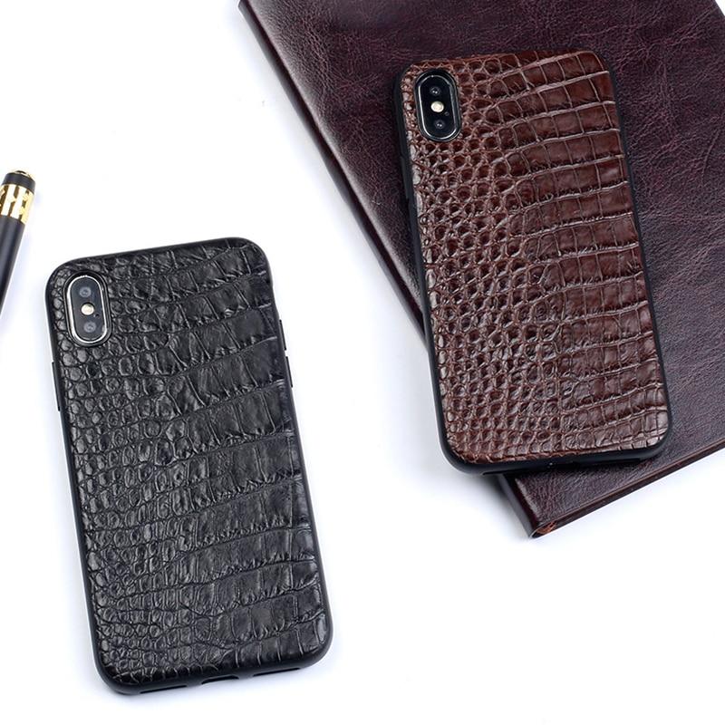 Luxury Genuine Leather case Telefone Para o iphone X XR XS MAX 6 6S 7 8 Plus 5 5S SE capa De Couro De Crocodilo Real soft shell Capa