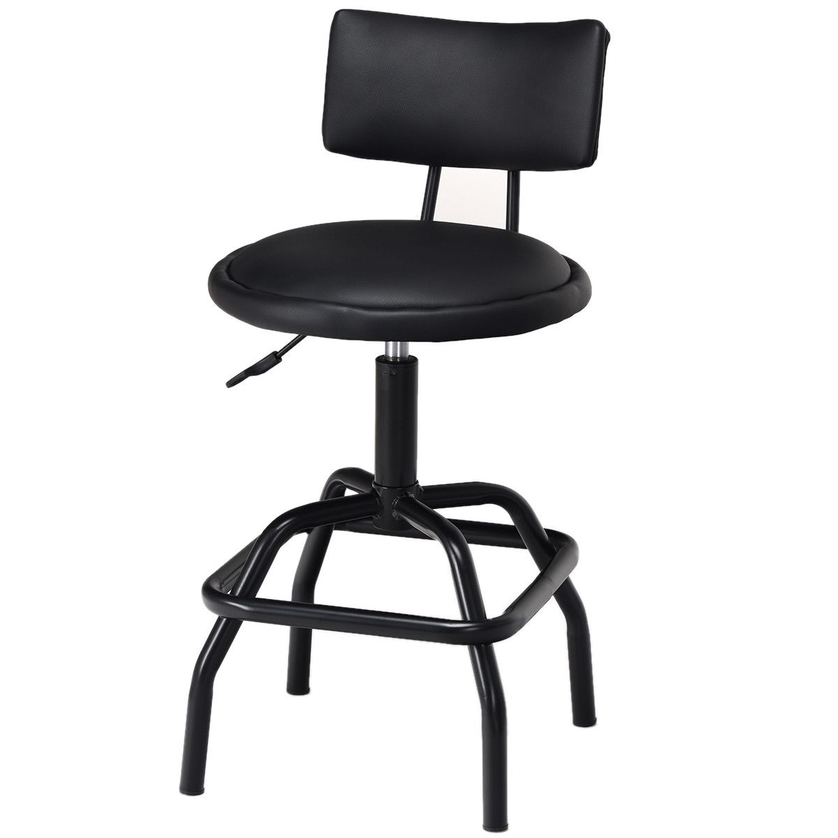 Costway Adjustable Swivel Bar Stool PU Leather Steel Frame Chair W/Backrest&Footrest