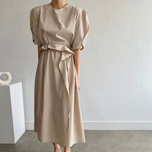 2021 Summer New Simple Retro Lace Solid Color Puff Sleeve Round Neck Women's Dress Temperament Korean Fashion Casual