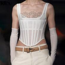 Kliou slim solide débardeur blanc maigre coton femmes 2020 nouveau bas-cou sexy sans manches haut court streetwear femme vêtements décontracté és