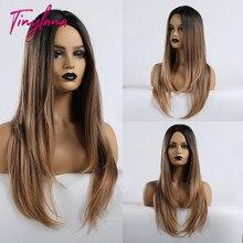 Tiny lana longo reta meio parte ins estilo perucas marrom misturado loira ombre cabelo perucas sintéticas para as mulheres cosplay resistente ao calor